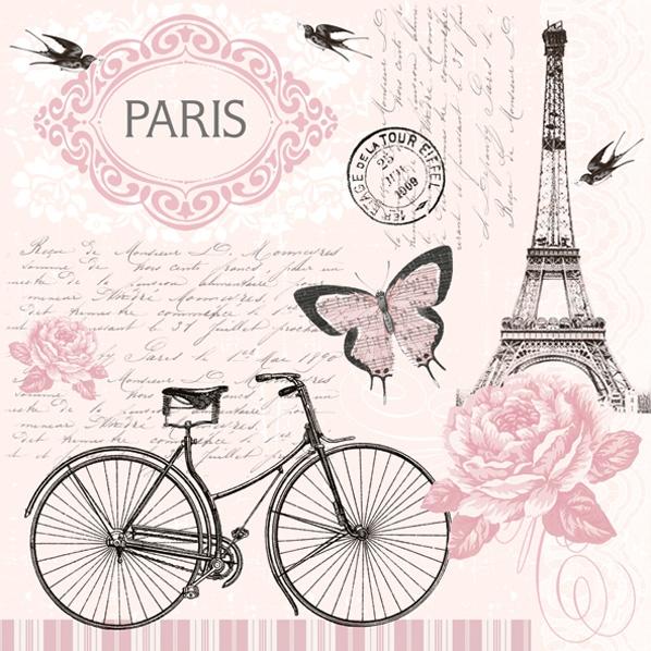 Servietten 33x33 cm - Pariser Fahrrad