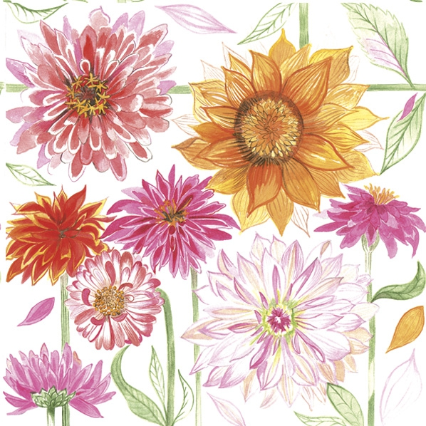 Servietten 33x33 cm - Drawn Garden Flowers