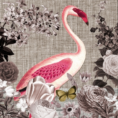 Servietten 33x33 cm - Flamingo Sepia