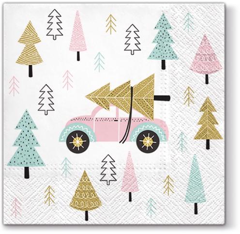 Servietten 33x33 cm - Christmas Car pink