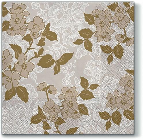 Servietten 33x33 cm - Flower & Lance (gold)