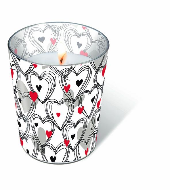 Glaskerze - Glaskerze Shower of hearts red