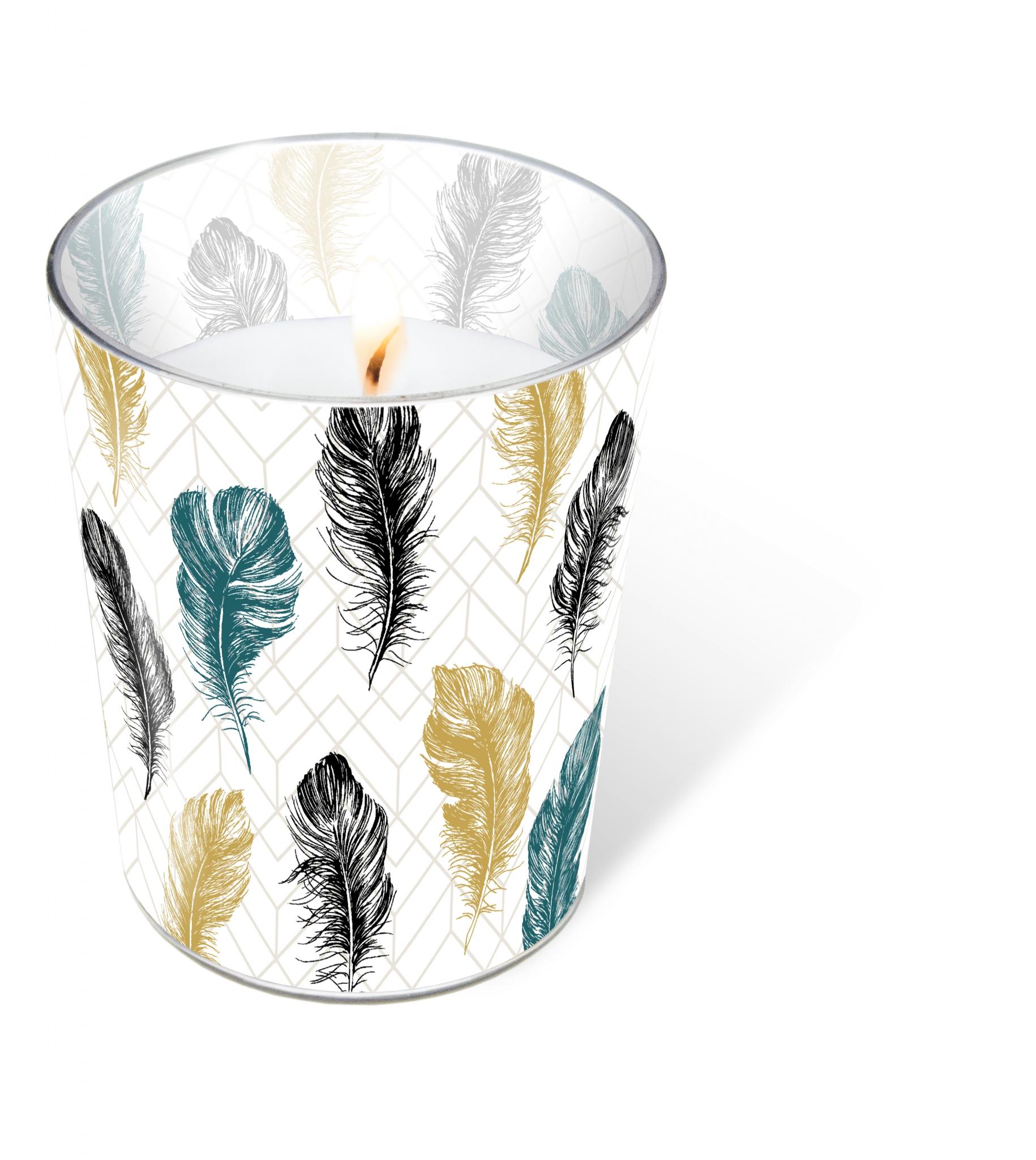 Glaskerze - Coloured feathers