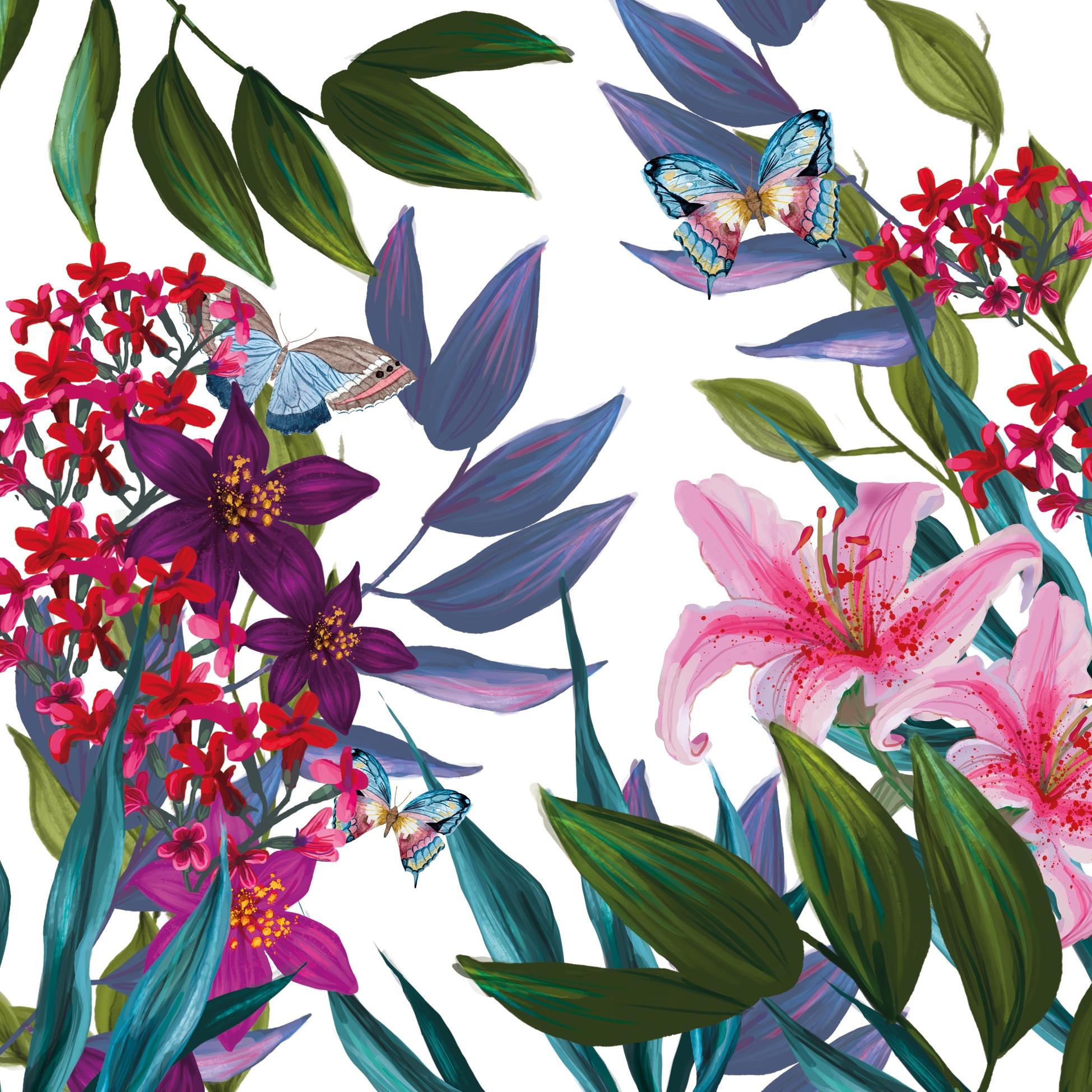 Servietten 33x33 cm - Tropical Lilies