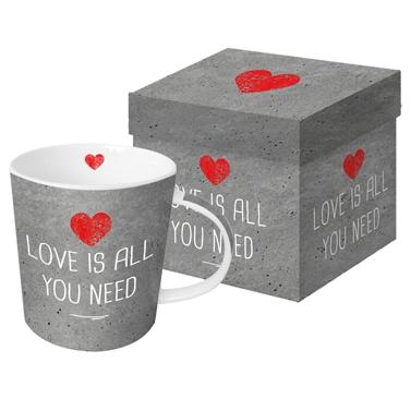 Porzellan-Henkelbecher - Need Love cement