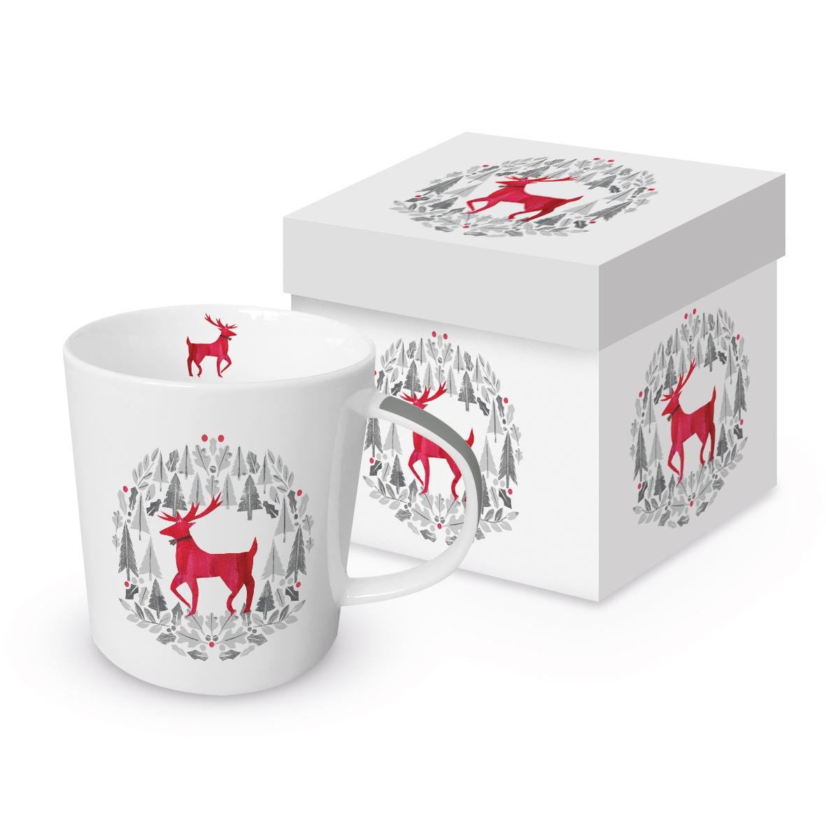 Porzellan-Henkelbecher - Silver Deer Trend GB
