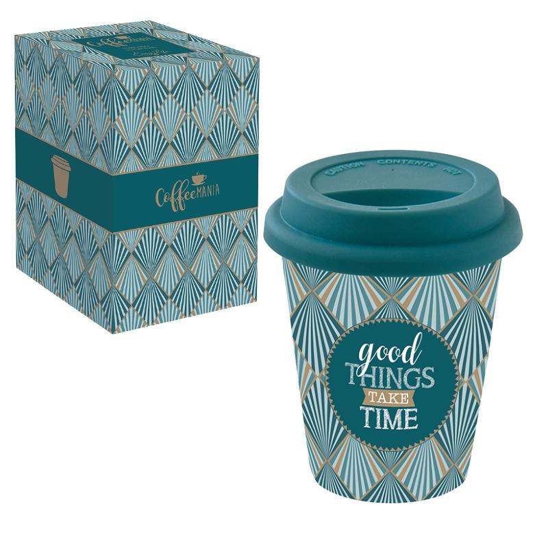 Porzellan Mug To-Go 220ml - GOOD THINGS TAKE TIMES