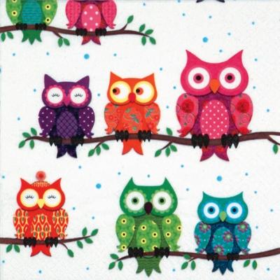 Lunch Servietten Colourful Owls
