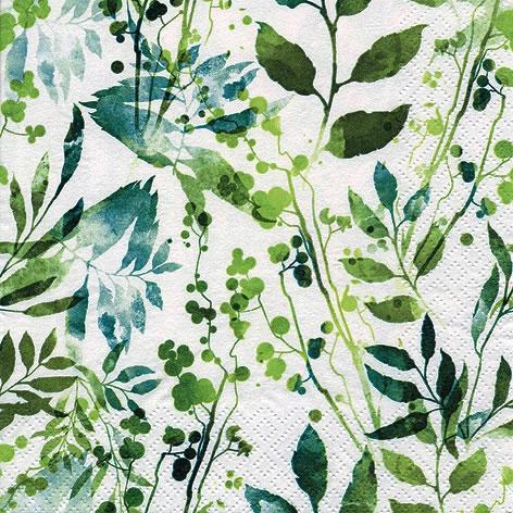Servietten 33x33 cm - Boho Leaves & Herbs green
