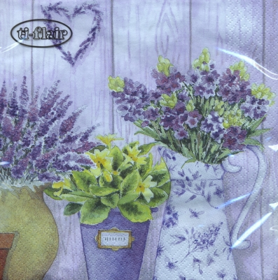 Lunch Servietten Lilac Flowers with Heart