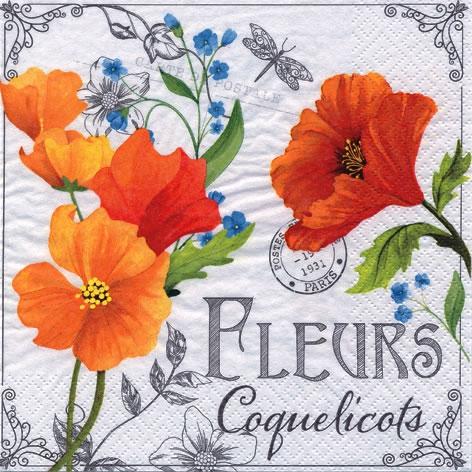Lunch Servietten Fleurs de Coquelicots