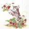 Servietten 33x33 cm - KITTY AND STRAWBERRIES