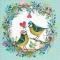 Servietten 33x33 cm - Bird wedding